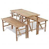 vidaXL Pivní set stůl se 2 lavicemi 100 cm bambusový