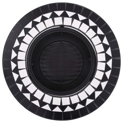 vidaXL Mozaikové ohniště černobílé 68 cm keramika