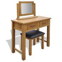 vidaXL Toaletní stolek se stoličkou masivní dubové dřevo