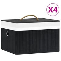 vidaXL Bamboo Storage Boxes 4 pcs Black