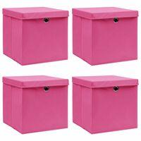 vidaXL Úložné boxy s víky 4 ks růžové 32 x 32 x 32 cm textil