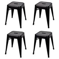 vidaXL Stohovatelné stoličky 4 ks černé ocel