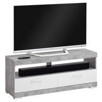 FMD TV/Hi-Fi stolek betonově šedý a leskle bílý