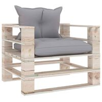 vidaXL Zahradní pohovka z palet s šedými poduškami borové dřevo