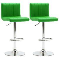 vidaXL Barové stoličky 2 ks zelené umělá kůže