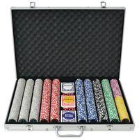 vidaXL Poker set s 1000 laserovými žetony hliník