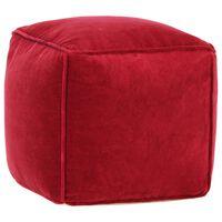 vidaXL Sedací puf bavlněný samet 40 x 40 x 40 cm rubínově červený