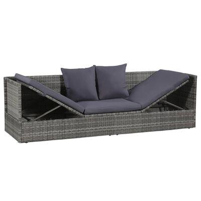 vidaXL Zahradní postel šedá 200 x 60 cm polyratan