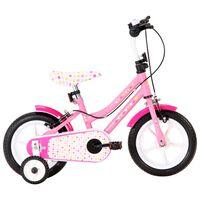 vidaXL Dětské kolo 12'' bílo-růžové