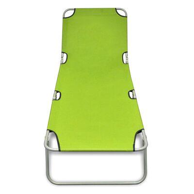 vidaXL Skládací opalovací lehátko práškovaná ocel zelené jablko
