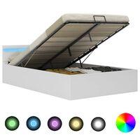 vidaXL Rám postele s LED úložný prostor bílý umělá kůže 140 x 200 cm