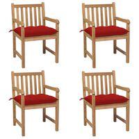 vidaXL Zahradní židle 4 ks červené podušky masivní teak