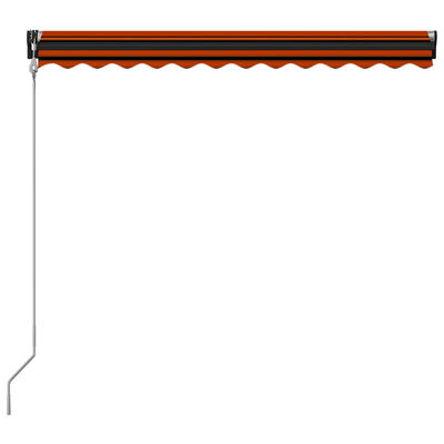 vidaXL Zatahovací markýza senzor větru a LED 350x250 cm oranžovo-hnědá, oranžová a hnědá