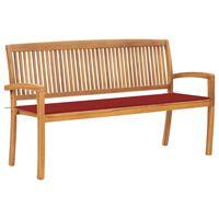 vidaXL Stohovatelná zahradní lavice s poduškou 159 cm masivní teak