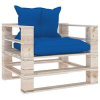vidaXL Zahradní pohovka z palet královsky modré podušky borové dřevo