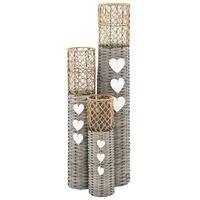 vidaXL Volně stojící lucerny na svíčku 3 ks proutěné