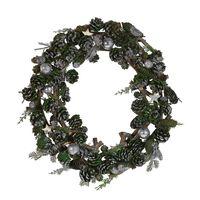 Vánoční Věnec ⌀ 50 Cm, Zelený A Stříbrný Filpus
