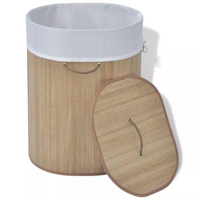 vidaXL Bambusový prádelní koš oválný přírodní odstín