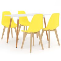 vidaXL 5 Piece Dining Set Yellow (287242+289117)