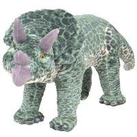 vidaXL Stojící plyšová hračka, dinosaurus triceratops, zelený, XXL