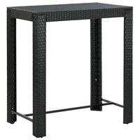 vidaXL Zahradní barový stůl černý 100 x 60,5 x 110,5 cm polyratan