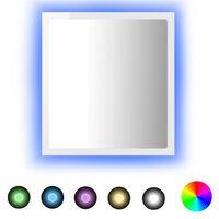 vidaXL Koupelnové zrcadlo LED bílé s leskem 40x10,5x37 cm dřevotříska