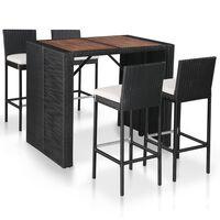 vidaXL 9dílný zahradní barový set polyratan a akáciové dřevo černý