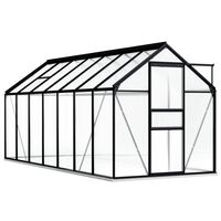 vidaXL Skleník s podkladovým rámem antracitový hliník 8,17 m²
