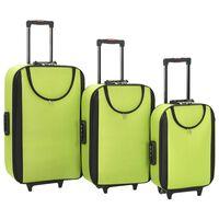 vidaXL Měkké kufry na kolečkách 3 ks zelené oxfordská látka