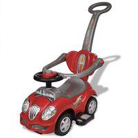 Červené dětské odrážedlo auto s vodicí tyčí