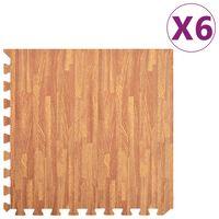 vidaXL Podložky na cvičení 6 ks kresba dřeva 2,16 ㎡ EVA pěna