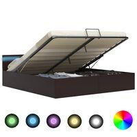 vidaXL Rám postele s LED úložný prostor šedý umělá kůže 180 x 200 cm