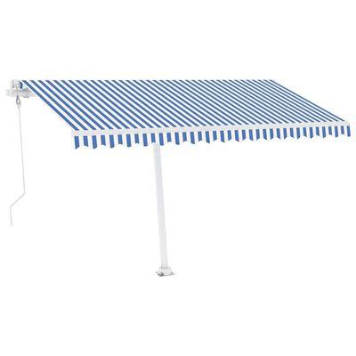 vidaXL Automatická markýza LED a senzor větru 450 x 350 cm modrobílá