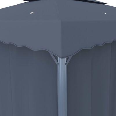 vidaXL Altán se závěsy 3 x 3 m antracitový hliník