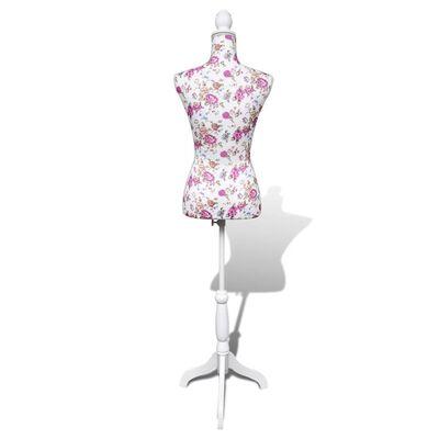 vidaXL Dámská figurína krejčovská panna bavlna bílá s růžičkami