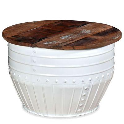 vidaXL Konferenční stole masivní recyklované dřevo bílý tvar sudu