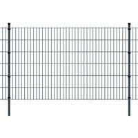 vidaXL 2D Zahradní plotové dílce a sloupky 2008x1230 mm 24 m šedé