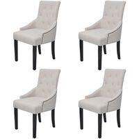 vidaXL Jídelní židle 4 ks krémově šedé textil