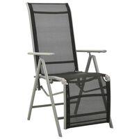 vidaXL Polohovací zahradní židle textilen a hliník stříbrná