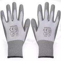 vidaXL Pracovní rukavice z PU, 24 párů, bílošedé, vel. 9/L