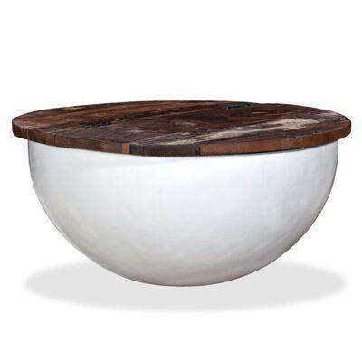 vidaXL Konferenční stolek masivní recyklované dřevo bílý tvar misky