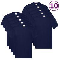 Fruit of the Loom Originální trička 10 ks námořnicky modrá XXL bavlna