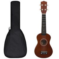 """vidaXL Set soprano ukulele s obalem pro děti tmavé dřevo 21"""""""