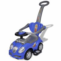 Modré dětské odrážedlo auto s vodicí tyčí