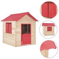 vidaXL Dětský domeček jedlové dřevo červený