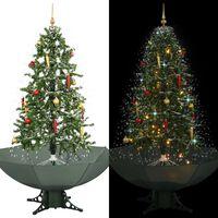 vidaXL Sněžící vánoční stromeček s deštníkovým stojanem zelený 170 cm