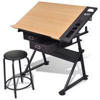 vidaXL Kreslící stůl sklopný se dvěma zásuvkami a stoličkou