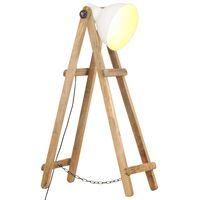 vidaXL Stojací lampa bílá E27 masivní mangovníkové dřevo