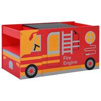 vidaXL 3dílná sada dětského stolu a židlí tvar hasičského auta dřevo