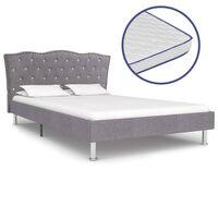vidaXL Postel s matrací s paměťovou pěnou světle šedá textil 140x200cm